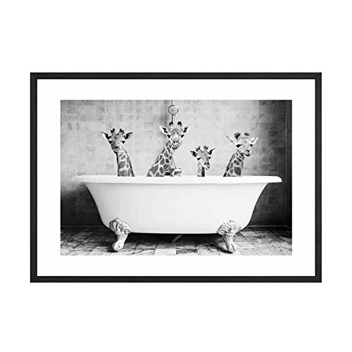 LiMengQi Nordic Bild Junge dekorative leinwand malerei Kindergarten wandmalerei kleines Tier Poster in der badewanne Panda Giraffe Elefant löwe Schwein Kuh (kein Rahmen)