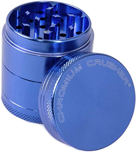 Chromium Crusher 1.6 Inch 4 Piece Tobacco Spice Herb Grinder - Pick Your Color (Blue)