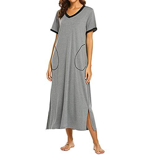 HUANSUN Vestidos de Mujer Boho Vestido Largo de Manga Corta Camisón de Verano Camisón Vestido de Dormir Completo Ultra Suave, Gris, XL