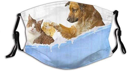 YeeATZ Gesichtsschutz Mundschutz Nettes Haustier Katze Hund Bad Blaue Badewanne Humane Simple White Wiederverwendbarer Nasenschutz Waschbar staubdicht gegen Verschmutzung