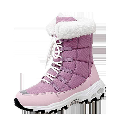 Boots For Girls Toddler Kids with Cotton Snow Boots Stylish Flat Bottomed Shoes Thick Velvet High Top Warm Non Slip Outdoor Walking and Hiking