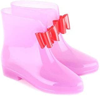 MEIGUIshop Rain Boots - Bow Pupils Transparent Non-Slip Jelly Short Tube rain Boots