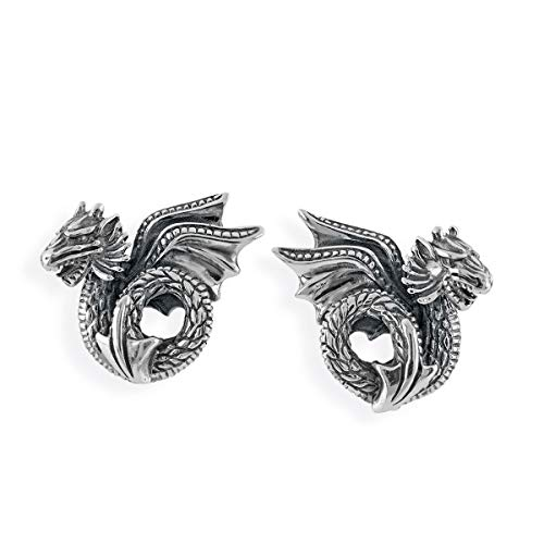 Drachenfels Orecchini a clip in vero argento, collezione'Drago Blut', orecchini in stile vintage, in argento Sterling 925, da donna