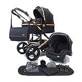 Pixini Kinderwagen gold/schwarz (Kinderwagen Kalani 3in1 + Babyschale + Zubehör)