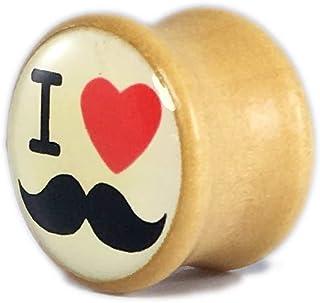 Natural Wooden Ear Plugs Gauges Stretcher Flesh Tunnels Acrylic Center 'I Love Mustache' Logo Unisex Piercing Jewelry - 1pc