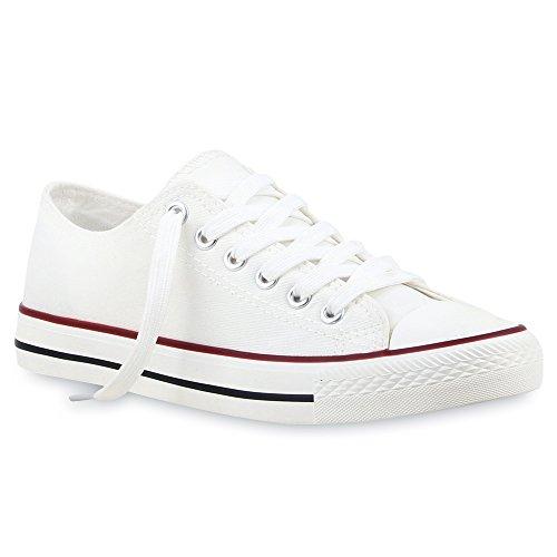 stiefelparadies Sportliche Damen Schuhe Low Sneakers Prints Bequeme Schnürer Schuhe 103076 Weiss Rot Bernice 37 Flandell