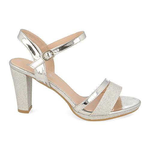 Sandalia de Mujer Ankle Strap con Tacon Cuadrado Alto, Tiras Finas en Pala y Pulsera con Hebilla. Ideal para Noche o Fiesta. Primavera Verano 2020.