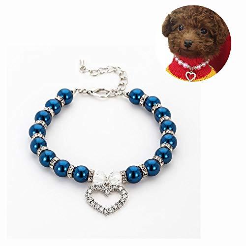 JDXRG Hunde-/Katzen-Halsband, modisch, verstellbar, Schmuck, Welpen-Geschenk, Liebes-Anhänger mit Perlenanhänger, D, M
