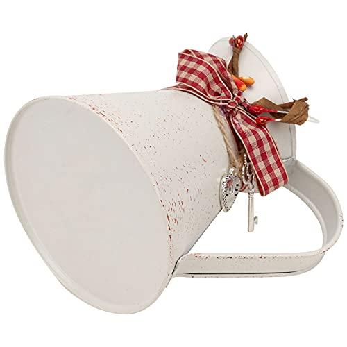 DOITOOL - Vaso da fiori in metallo stile shabby chic galvanizzato per lattine da latte in stile francese con corda e chiave Cham rustico, ideale per cascine e casette di irrigazione vintage