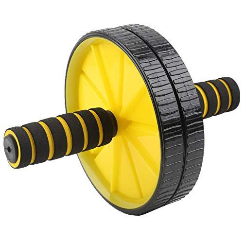 HUYHUY Huyhuyhot HG-Double-Wheeled Abdominal Press Wheel Rollers Equipo de Ejercicio para el Gimnasio en el hogar Body Building Fitness con Hassock-Beige