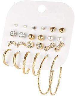 BESTPICKS 12 Pairs Crystal Infinite Simulated Pearl Ball Big Circle Gold Plated Earrings Gift for Female Girl Women Ladies