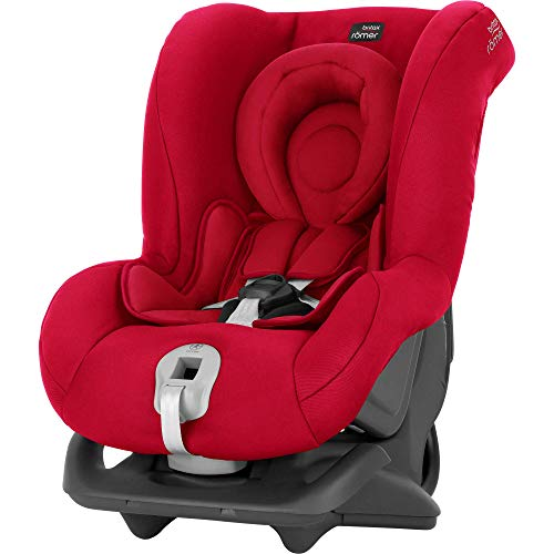 Britax Römer Reboarder Kindersitz 0 - 4 Jahre | 0 - 18 kg | First Class Plus Autositz Gruppe 0+/1 | Fire Red