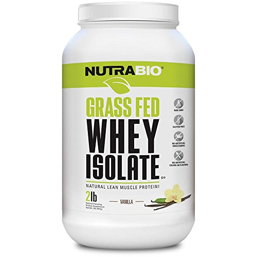 NutraBio Grass Fed Whey Isolate Protein Powder - 25G of Protein Per Scoop - Sugar Free Natural Lean Muscle Protein Supplement - Vanilla - 2 Pounds, 29 Servings
