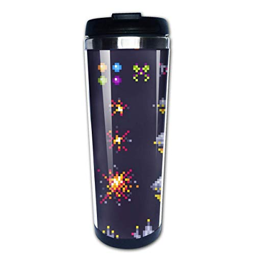 Retro Space Arcade Game Invaders Spaceship Pixel14oz Stainless Steel Vacuum Coffee Mug, Travel Mug for Cold Drinks, Hot Drinks, Easy to Carry.