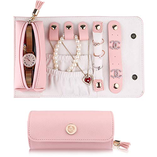 JIDUO Travel Jewelry Organizer Roll Foldable Faux Leather Small Jewelry Case Jewelry Storage Bag for Necklaces Earrings Bracelets Rings Brooches and More Easy to Carry (Pink)