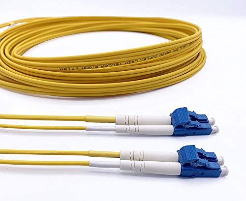Elfcam® - LWL Patchkabel OS2 LC/UPC zu LC/UPC Singlemode Duplex 9/125um Glasfaserkabel Fiber Patch Cable LSZH, 15M