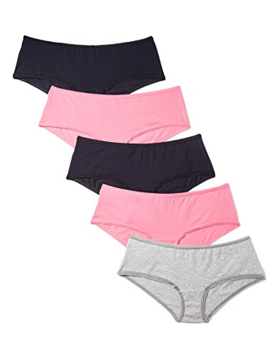 Marca Amazon - Iris & Lilly Culotte Mujer, Pack de 5, Multicolor (Azelea Pink / Navy Sky / Melange), S, Label: S