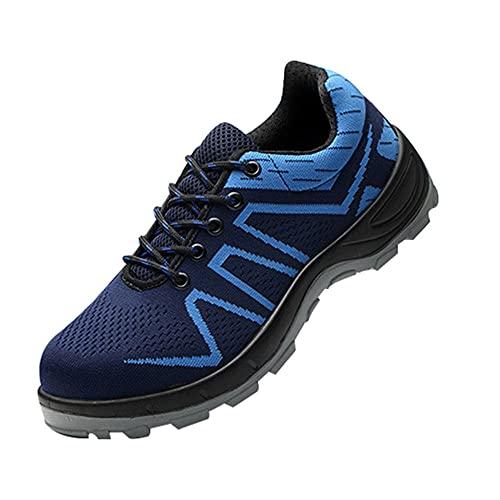Zapatillas de Seguridad con para Hombre,Botas de Seguridad para Hombre Zapatos Trabajo con Punta de Acero Ligero,Blue▁39