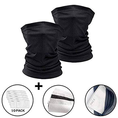 X-CHENG Scarf Bandanas Mask - Multi-Purpose Bandana Mask Neck Gaiter with Safety Carbon Filters for Men Women Sports&Outdoors, Black(M)