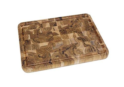 "Lipper International 7220 Teak Wood End Grain Kitchen Cutting and Serving Board, Large, 15-3/4"" x 12"" x 1-1/4"""