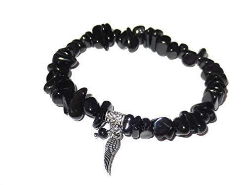 Handgefertigter Armschmuck von Engelbezauberndes Schwarzer Turmalin (Schörl) Armband Edelsteinsplitter mit Engelsflügel und Perle handgemacht