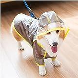 Ropa mascotas Chubasquero Corgi Transparente Impermeable Impermeable perros Ropa mascotas Abrigos Perro Mascotas Chubasquero perros pequeños Cachorro Chubasquero con capucha Regalo gatos y perros-S