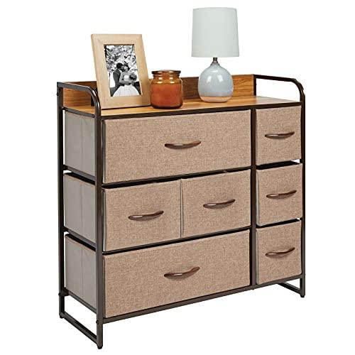 mDesign Cómoda para dormitorio con 7 cajones – Mueble con cajones ancho para el salón, la habitación o el pasillo – Cajonera de metal, MDF y tela para guardar ropa – marrón