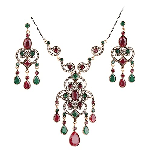 YUANBOO Conjuntos de joyería de la Flor de la Vendimia Mujeres Pendiente de Resina turcocha y ampnecklace de la Gota Colgante de la Hierba del Rollo Hueco