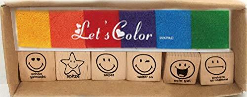 Smiley Lehrerstempel Holzstempel für Schule zur Motivation
