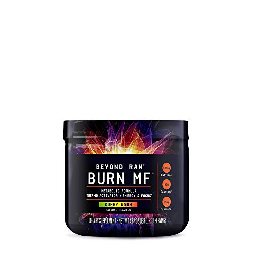 BEYOND RAW Burn MF | Metabolic Formula, Thermo Activator, Supports Energy and Focus | Gummy Worm | 30 Servings