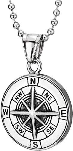 banbeitaotao Collar Mujer s Vintage St Acero brújula círculo Medalla Colgante Collar para Hombres 23 6 Pulgadas Cadena de Bolas