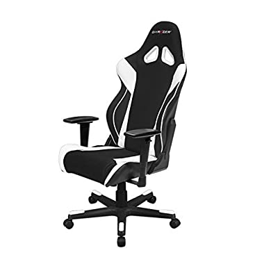 DXRacer Racing Series OH/RW106 Racing Style Bucket Seat Ergonomic Executive Office Gaming Chair Computer eSports Desk Chair With Lumbar Support Pillows (Black, White)