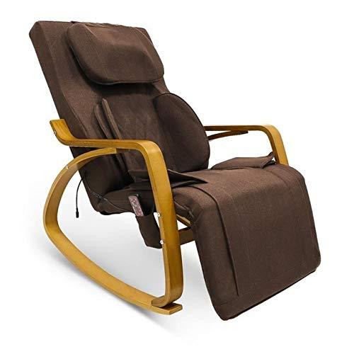 DZWLYX Chaise Lounge Brown Massagesessel 3D Full Rückenmassagegerät vibrierende Funktion Handlauf aus Holz Leinen Abdeckung Rocking Chiar mit verstellbarem Kopfkissen (Color : Widening Edition)