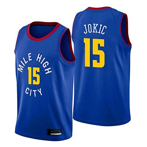 Wo nice Jerseys De Baloncesto De Los Hombres, Denver Nuggets # 15 Nikola Jokic Uniformes De Baloncesto De La NBA Suelta Chalecos Casuales Deportes Tops Camisetas,Azul,M(170~175CM)