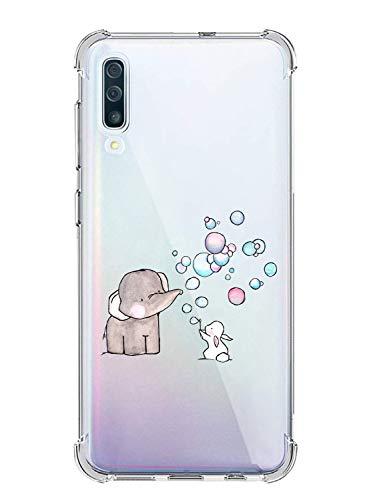 Oihxse Silicona Funda con Samsung Galaxy M30S TPU Flexible Suave Transparente Protector Estuche Airbag Esquinas Reforzadas Ultra-Delgado Elefante Patrón Anti-Choque Caso (C9)