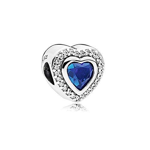 LISHOU Mujer Pandora Bead S925 Plata De Ley Clásico Azul Océano Corazón Copo De Nieve Ojo De Gato Atrapasueños Colgante con Cuentas DIY Fabricación De Joyas Z9