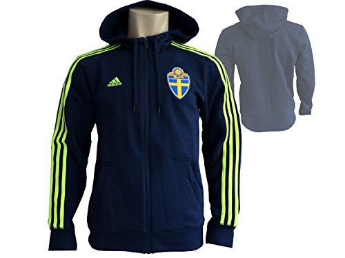 adidas Schweden Kapuzenjacke dunkelblau SVFF 3S Hood Zip Fanartikel Jacke WM 2018, Gr.S