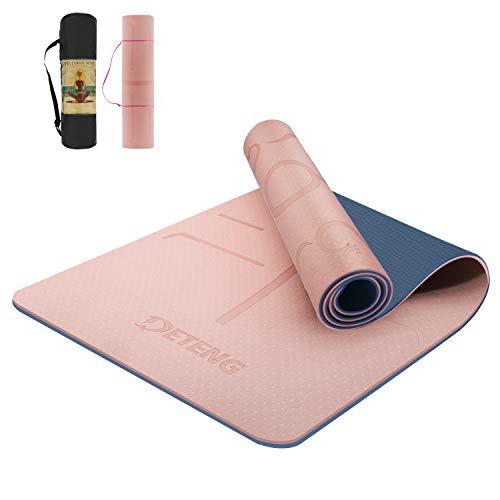 Yogamatte, TPE Yoga Matte Gymnastikmatte Sportmatte Doppelseitge rutschfeste für Naturkautschuk Yoga Pilates Fitness mit Yoga Handtuch und Tragetasche, Fitness-183 x 61 x 0,8cm