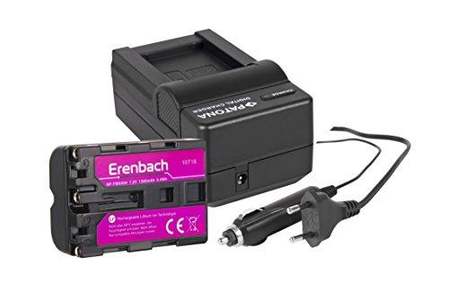 2in1-SET für die Sony Alpha SLT-A99V / 68 A-Mount und SLT-A77 II --- Erenbach Akku für Sony NP-FM500 (1300mAh) + Schnell-Ladegerät für Digitalkamera / Camcorder incl. KFZ-Lader (12V)