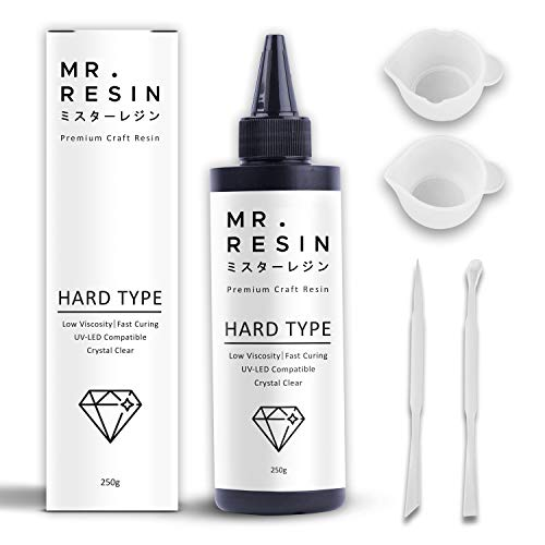 Mr. Resin (250g) UV Resin Crystal Clear Resin Kit + Resin Accessories Use in: Keychain Making Kit, Jewelry Making Kit, Cure with UV Lamp and Sunlight!