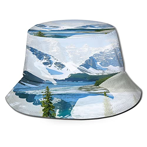 Vultures in The Background of Moraine Lake Unisex Casual Bucket Sun Hat Fisherman Cap for Fishing Hiking Camping