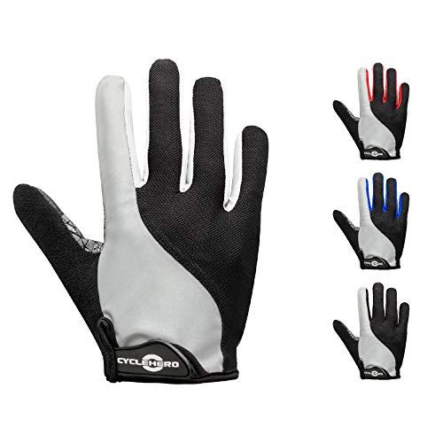 CYCLEHERO Komfortable Fahrradhandschuhe Männer mit Reflektor (Lange & Kurze Version) MTB Handschuhe mit hochwertiger Polsterung und Ventilationslöchern (versch. Farben & Größen)