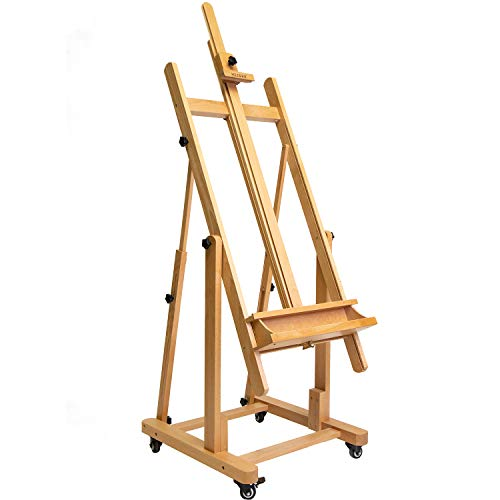 MEEDEN Large H-Frame Studio Easel - Heavy-Duty Beech Wood Artist Professional Easel, Extra...
