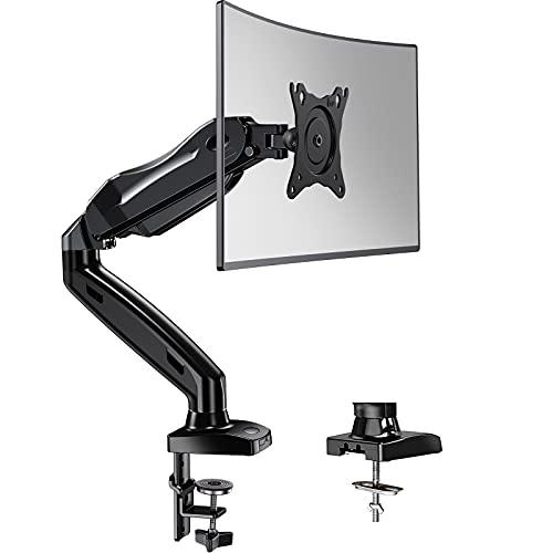 HUANUO 17-27 Zoll Monitor Halterung Gasdruckfeder Arm 360° Drehbar für LED LCD Bildschirm, 2 Montageoptionen, VESA 75/100