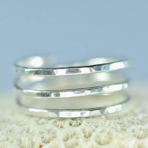 Sterling Silver Adjustable textured hammered wire wrap coil ring, thumb ring, pregnancy ring