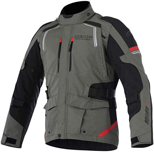 Alpinestars Men's Andes v2 Drystar Motorcycle Jacket, Military Green/Black/Red, 4X-Large