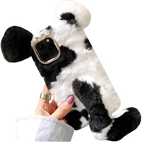 Funda para LG K8 Phoninx2 Escape3 US375 K350 K371, hecha a mano con lana mullida Villi linda vaca ratón cola de oreja, TAITOU Pretty Light Slim Protection Phone Case para LG K8 Negro