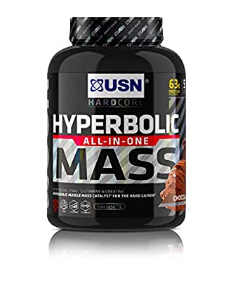 USN Hyperbolic Mass Chocolate 2 kg: All-In-One Mass Gainer Protein Powder, For Fast and Effective Weight Gain from USN
