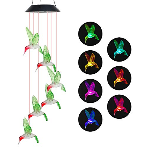Wind Chime Outdoor Color-Changing Waterproof Mobile Romantic Led Solar Powered Hummingbird Wind Chimes Lights for Home, Indoor, Yard, Patio, Night Garden, Party, Valentines Day Gift, Festival Decor