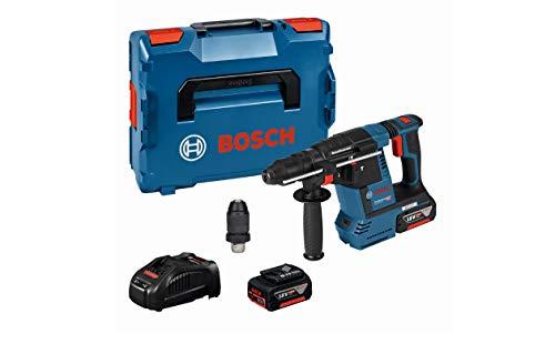 Bosch Professional 18V System Akku Bohrhammer GBH 18 V-26 F (inkl. 2x5.0Ah Akku, Schnellladegerät GAL 1880 CV, Schnellwechselbohrfutter 13 mm, Wechselfutter SDS plus, in L-BOXX 136)